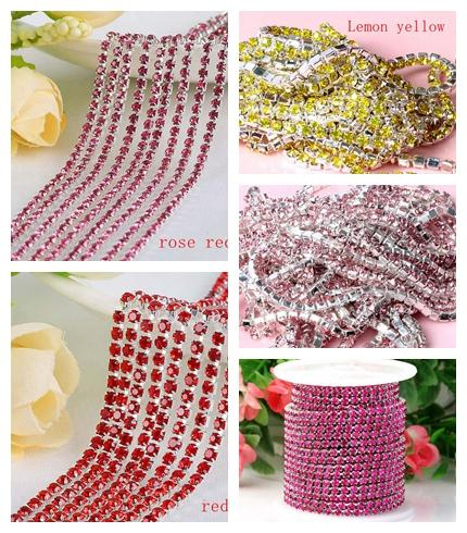 10Yards/Lot SS12 3MM Crystal Rhinestone Chain DIY Sew On Silver Base Density Trim Strass Crystal Cup Chains For Wedding Dress Wholesale