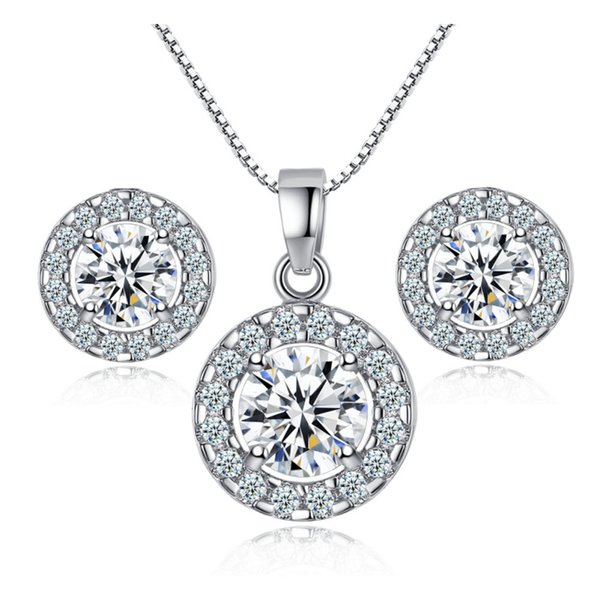 best selling Gorgeous 18K White Gold Plated Round Clear Austrian Crystal Cluster Stud Earrings Chain Pendant Necklace Fashion Jewelry Sets
