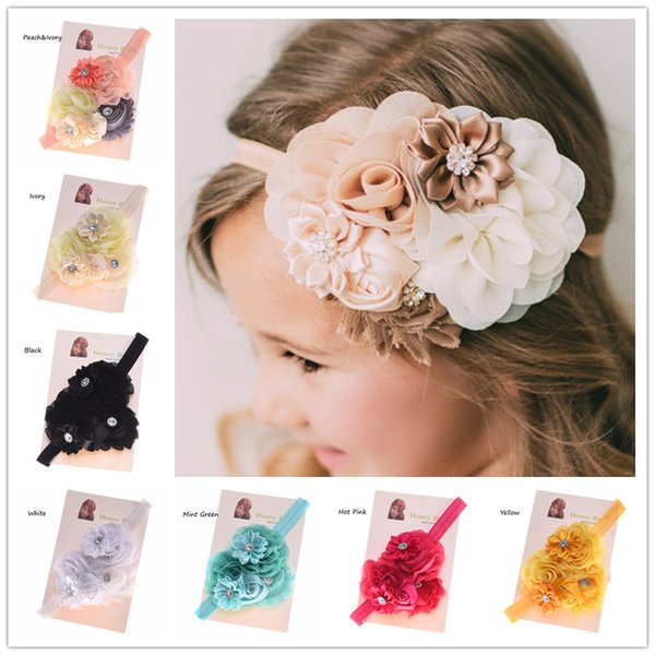 Wholesale- 1PCS Shabby Chic Headband Baby Hair Flowers Headbands Newborn Baby Hair Bows Hair Accessories Bows Photo Prop