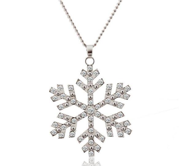 Замороженные Снежинка кулон Кристалл ожерелье / Кристалл ожерелье / Снежинка серебро Sweather длинные цепи Ожерелье для Рождественский подарок на день рождения