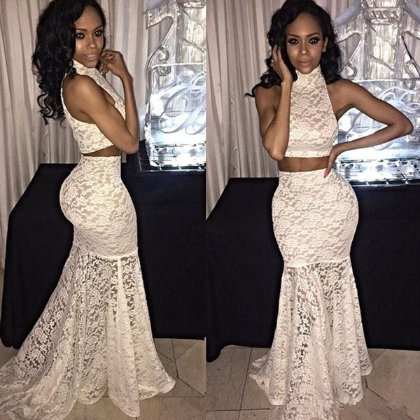 Ivory Two Piece 2018 Prom Dresses