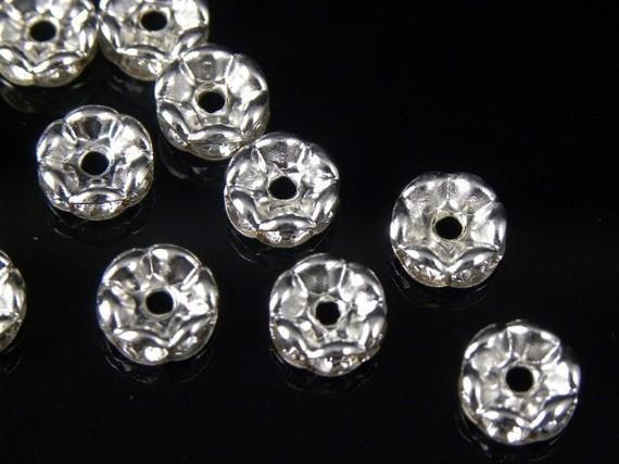 best selling 100 Pcs Wavy Rhinestone Rondelle Spacer Beads 6mm - Silver Clear Crystal SPARKLING Beads