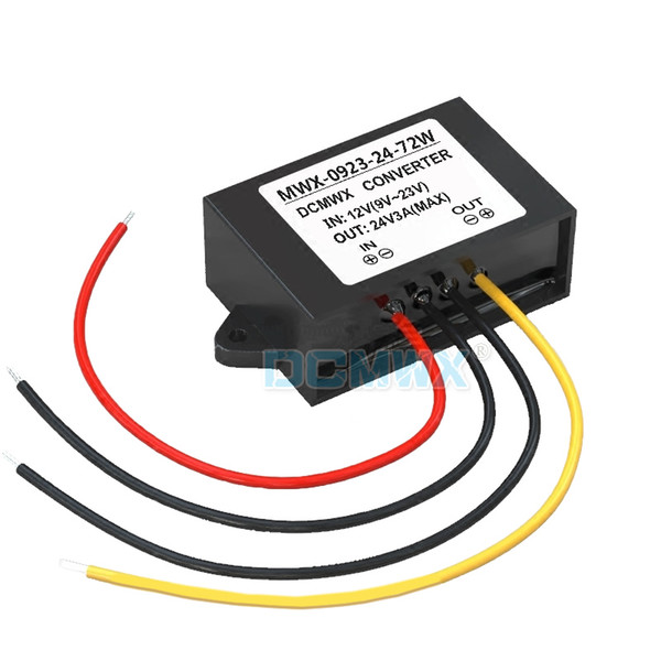 DCMWX® boost voltage converters 12V transform to 24V step up car power inverters Input DC9V-23V Output 24V 3A waterpoof dustproof