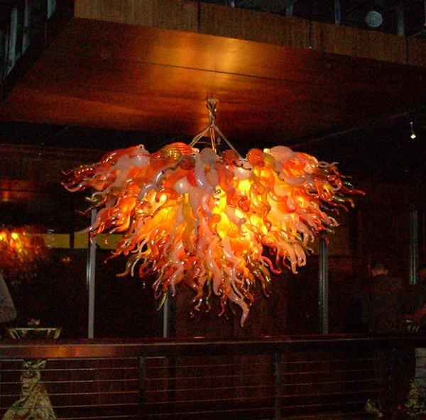 Free Shipping 100% Mouth Blown Borosilicate Living Room Art Decor Vintage Pendant Light Coffee House Hand Blown Glass Chandelier Lighting