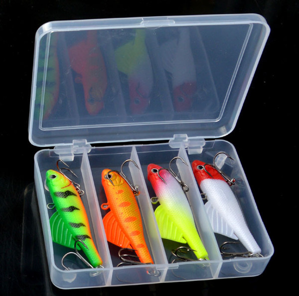 4 Colors Soft Lead Fishing Lures 6.5cm 16.5g Wing Fish Winter Catch Bass Mandarin Culter Jigs Soft Fishing Baits With Box