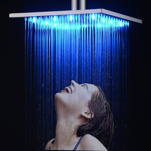 Venta caliente Accesorios del grifo de cobre lleno Cabezal de ducha Boquilla 3 Cambio de color LED Hydro Power Square Rain Shower Bath