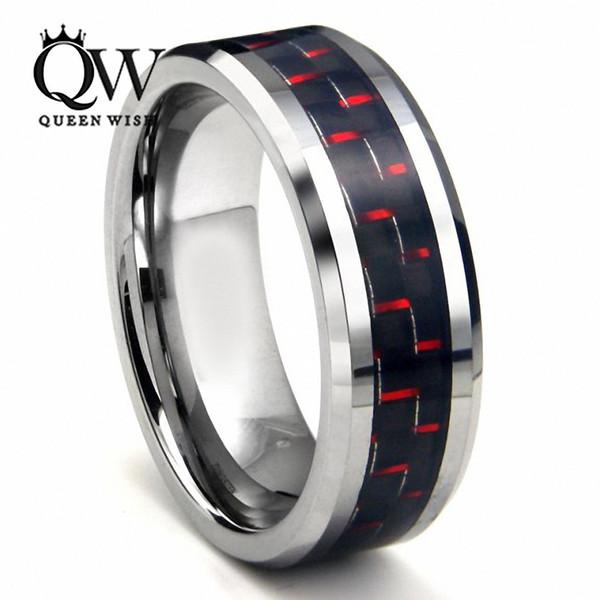 6MM Queenwish Black & Red Carbon Fiber Inlay Tungsten Wedding Rings