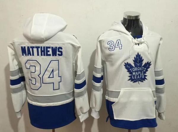 Neue Maple Leafs Hoodies Trikots # 34 Matthews 16 Marner Hockey Hoody Trikots Weiß Blau ColorSize S-XXXL Alle Teams Mix Order Alle Trikots