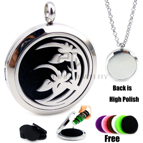 top popular New Arrival Silver Lily(30mm) Aromatherapy   Essential Oils Diffuser Locket Necklace with Chains Stianless Steel Auto Aroma Locket 2019