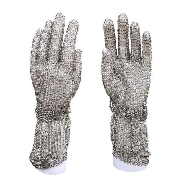 8CM Extended steel stove wrist anti-glove gloves metal net slaughter knife cut stainless steel net slaughter gloves work safety