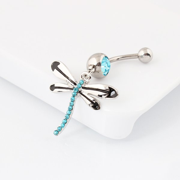 Body jewelry Dragonfly belly button ring fashion body piercing navel piercing jewelry Wholesale 14G Surgical Steel