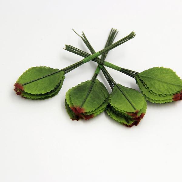 Wholesale 144pcs / lot Silk Blumen-Dekorations-Girlande Diy-Blatt-Eukalyptus-künstlicher Scrapbooking-Blumen-Corsage für Süßigkeitskastenversorgungen