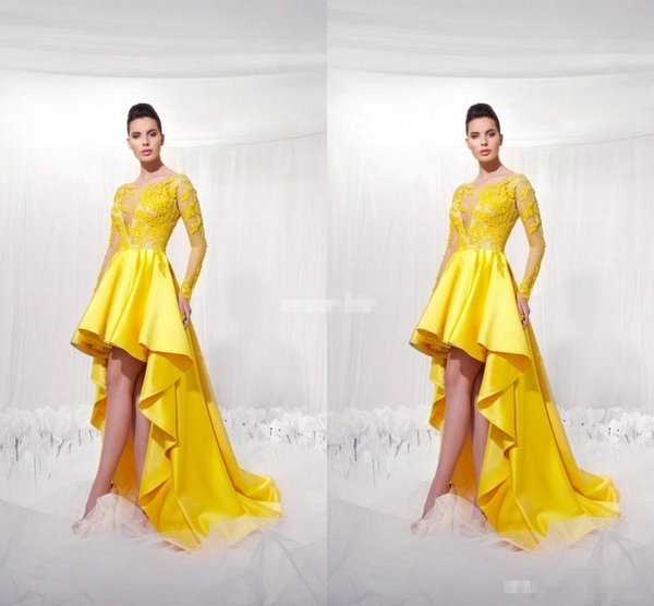 Yellow Short Front Long Back Homecoming Dresses With Illusion Long Sleeves Modest 2017 Applique High Low Prom Party Gowns For Girls
