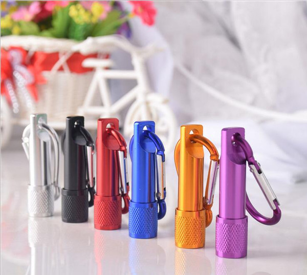 top popular Colorful mini LED Flashlight Aluminum Alloy Torch Flashlights with Carabiner Ring Keyrings Key Chain kids Christmas gift led toy 2021