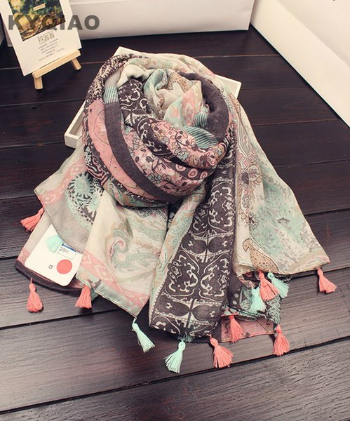 Wholesale- KYQIAO 2017 Women hijab scarf female autumn winter long Japanese style fresh Art Style print scarf muffler cape shawl
