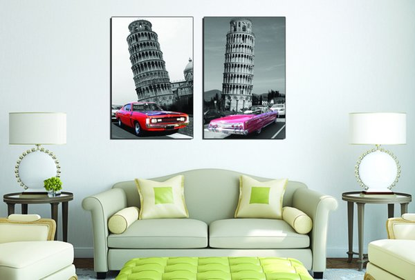 Time-Limited Promotion 2pcs Modular Picture City Impression The Leaning Tower of Pisa Living Room Modern Decorative Painting