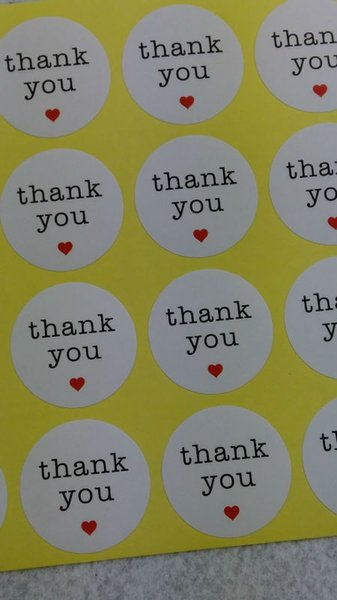 Wholesale- 1200PCS/Lot 3cm Round Thank you Love Sticker labels white Paper Stickers Labels DIY hand made for gift box /cake
