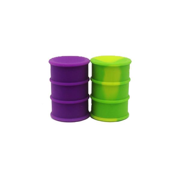 Barril de tambor de aceite contenedor antiadherente 26 ml Silicona Dab contenedor de almacenamiento Tarro de tornillo superior 20pcs / lot color mezclado