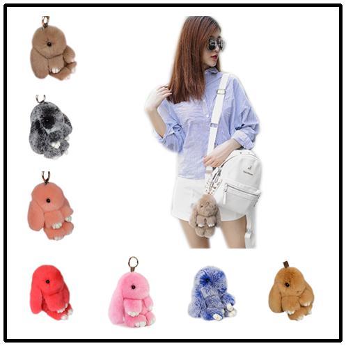 Cute Bunny Key Chain 40 Colors Genuine Rabbit Fur Balls Trinket 13cm 18cm Pompoms Keychain Women Handbag Charms Pendant