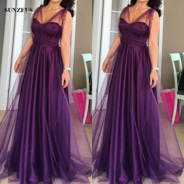 Long Purple Bridesmaid Dresses A Line Sweetheart Satin Tulle Wedding Party Gowns maid of honor dresses