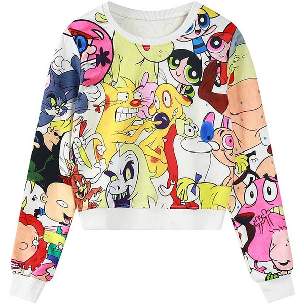 2017 nouveau design court élégant kawaii allover cartoon imprimé à manches longues top t-shirts pour femme dames t-shirt recadré WY0903