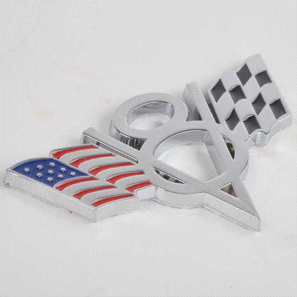 1pc High Quality Metal V8 American Flag Car Emblem Universal Auto Car 3D Metal Badge Sticker Decal for Ford Chevrolet