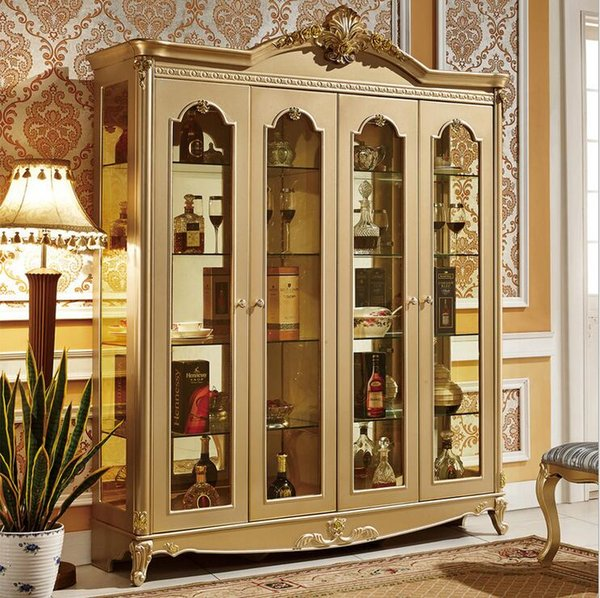 hot selling new arrival five door wardrobe modern European whole wardrobe French bedroom furniture wardrobe pfy10085