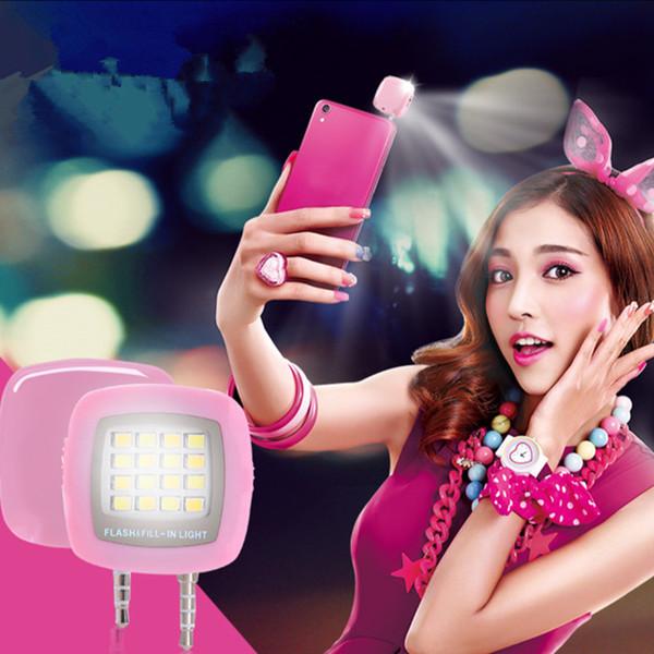 100pcs Mini Portable 16 LED Spotlight smartphone Selfie flash fill light for iPhone Android Cellphone iPad Flashlight