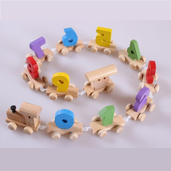 Baby Montessori Soft Wood Train Figure Model Toy with Number Pattern 0~9 Blocks Educational kids Wooden Toy children gifts