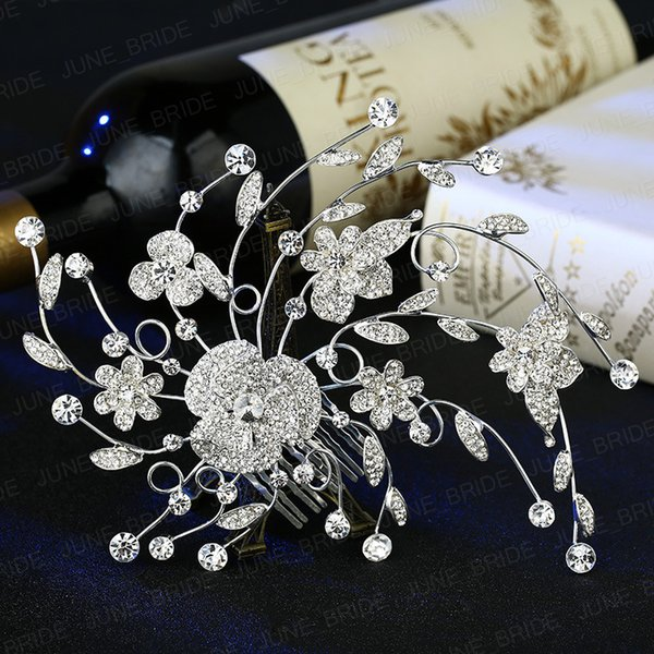 New Style Crystal Floral Bridal Hair Comb Delicate Romantic Rhinestone Wedding Prom Evening Party Headpieces Jewelry Accessory Free Shipping