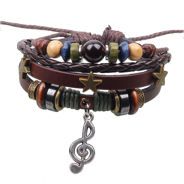 Music Notation Leather Bracelets Charm Star Multilayer Adjustable Leather Mens Cuffs Beaded Bracelet for Valentine's Day Gift LB003