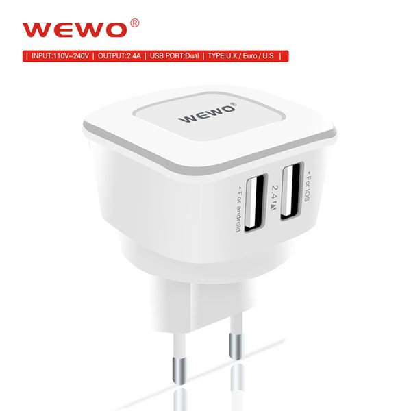 Dual USB Wall Charger EU US UK Plug 2.4A USB Power Adapter Travel Portable Charger for Iphone Samsung Galaxy Note LG Tablet Ipad