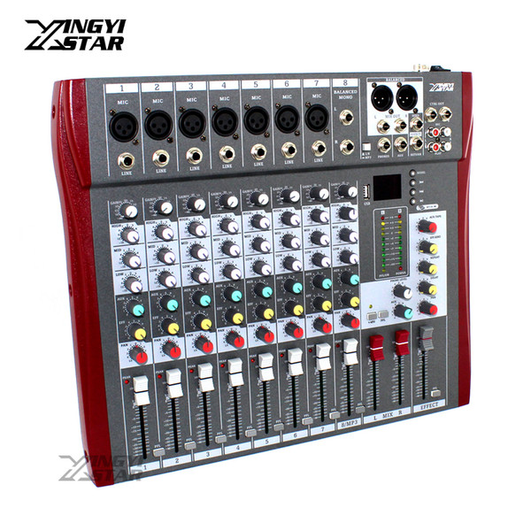 Mixer audio professionale a 8 canali Digital DJ Karaoke MP3 Music Sound Apparecchiatura USB Mixing Console 48V Phantom Power Amplifier