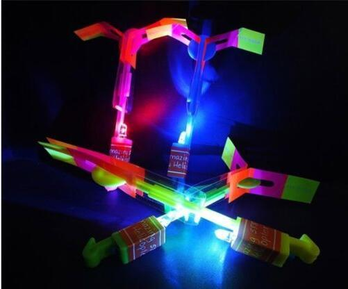 200PCS Kid Children Helicopter Rotating Flying Toy Amazing LED Light Rocket Party DHL Shipping