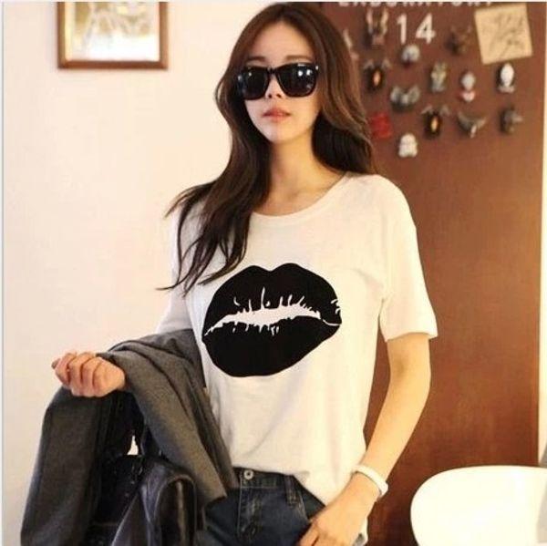 Maglietta all'ingrosso di vendita calda della maglietta delle donne 2016 del labbro di estate ha stampato le magliette femminili della manica della maglietta di T-shirt più di formato Maglietta di Femme Trasporto libero