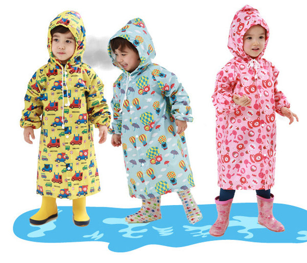 2 ~ 6 anos de idade do bebê Crianças Casaco Com Capuz crianças Menina menino capa de Chuva Poncho Capa de Chuva capa dos desenhos animados Impressão Balão Passeio Rainwear
