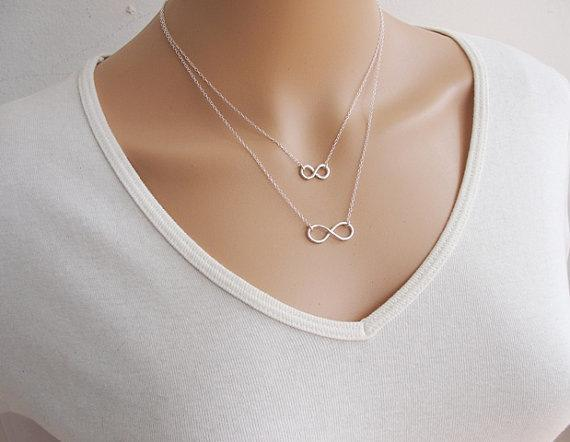 New Silver Plated Metal Double Infinity Charm Pendant Chain Necklace Love Forever Statement Bib Choker Chain Pendant Necklaces Party Jewelry