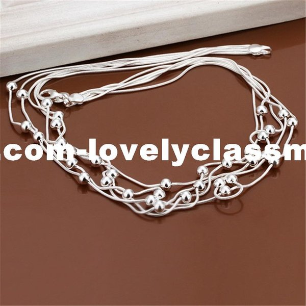 New Listing Hot selling retro charm silver plated five -line light bead Necklace Fashion trends Jewelry Gifts