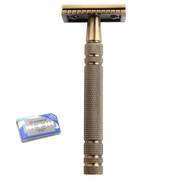 1Razor 10 Blades Shaving Men Long Handle Double Edge Razor Brass Bronze Blade Replaceable Classic Safety Razor Manual Shaver