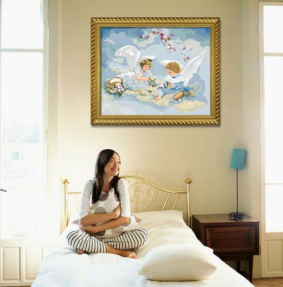 Acheter Eco Friendly Peinture Abstraite Angel Wings Accueil Art Image Avec Peinture Lin Impression Couleur Numérique Peinture à L Huile Murale Moderne
