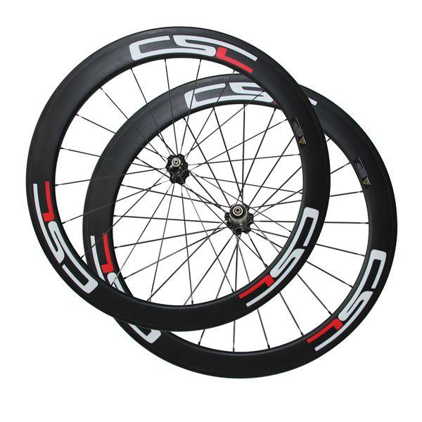 CSC Decal 60mm Clincher/Tubular Carbon wheels width 23mm 700C road bike wheels Bicycle carbon wheels Novatec Hub