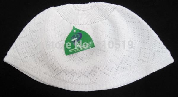 Wholesale-mix S,M,L islamic hijabadult turban headscarf Arab men cap wrap weaving white Muslim men Hat