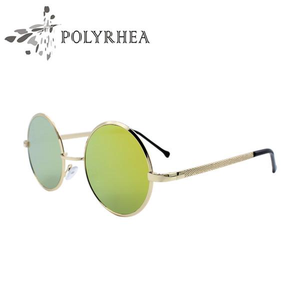 Atacado- POLYRHEA feminino rodada óculos de sol dos homens óculos Vintage reflexivo Metal óculos de sol Circular maré marca Metal Frame óculos de sol