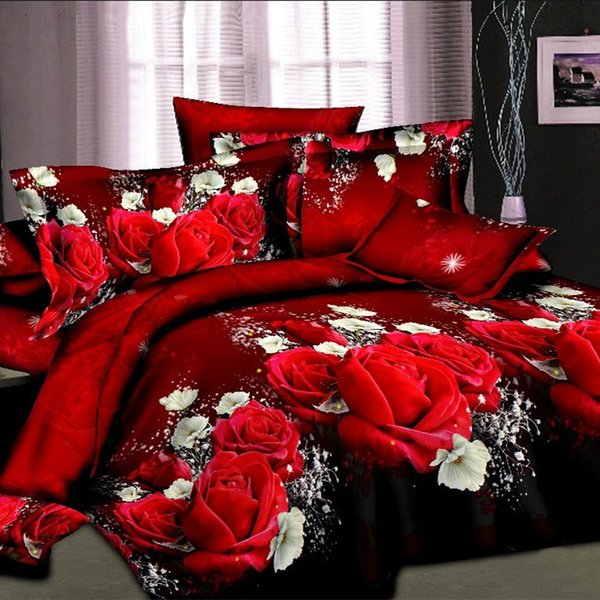Wholesale- Home textiles cotton Leopard grain rose 3D bedding sets King size 4 Pcs of duvet cover bed sheet pillowcase bedclothes