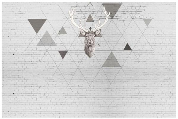 3D foto fondo de pantalla personalizado 3d murales de pared de papel tapiz ciervos y patrón triangular TV telón de fondo de papel de pared 3d living room decoración de la pared