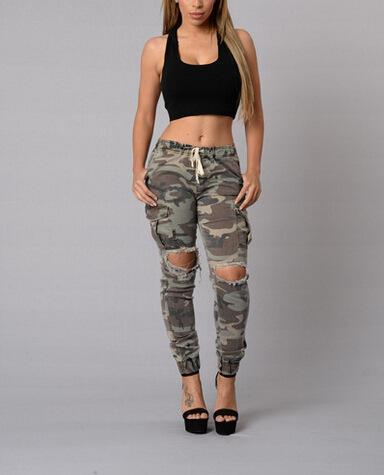 95c5b6ca32be5 Wholesale- 2016 fashion camo denim skinny jeans woman camouflage jeans slim  plus size hole pant femme pantalones vaqueros 611
