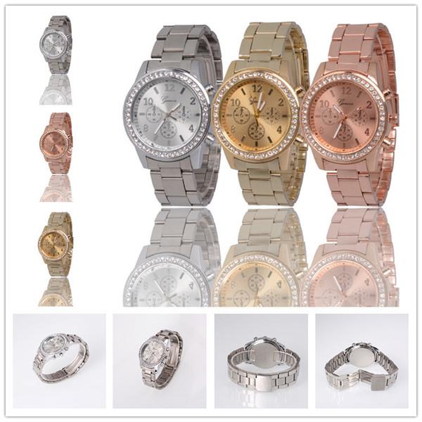 Le donne ginevra metallo acciaio lega orologi moda signore di lusso vestito di diamanti al quarzo regalo analogico mens orologi 3 colori