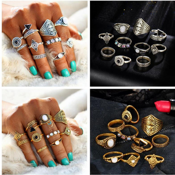 Fashion Leaf Stone arrow Midi Ring Sets New 2017 Vintage ethnic Crystal Opal Knuckle Rings for Women Anillos Mujer Jewelry 10PCS/set