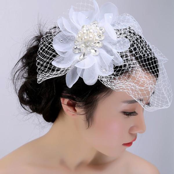 XS White Pearl Handmade Bride's Wedding Hair Net Yarn Bride Hats Crystal Hairpin Hair Accessories Wholesale