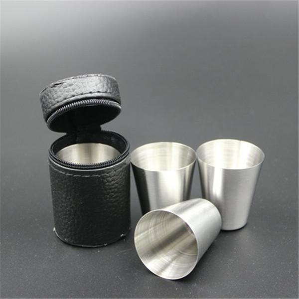 Wholesale 4pcs/set mini 30ml Portable Stainless Steel Wine Cups Drinking Liquor Alcohol Whisky Vodka Bottle Mug Travel Barware DH038